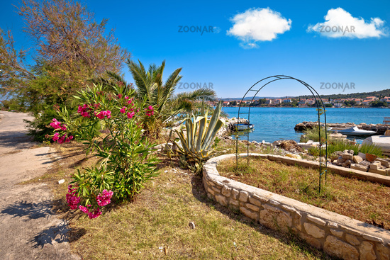 Colorful waterfront of Adriatic island of Krapanj, Sibenik archipelago