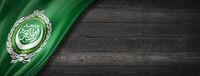 Arab League flag on black wood wall banner