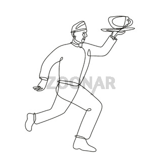 Waiter Delivering Cup of Coffee Running Side View Continuous Line Drawing