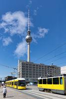 Berlin Alexanderplatz with streetcars and fernsehturm