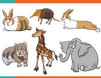 cartoon cute animals comic characters set