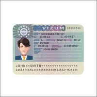 European Union visa realistic dummy example on white