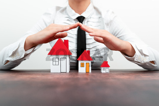 Lady Presenting New Home Insurance Deals In Outfit, Business Woman Showing Possible Mortegage Oppurtiunities For New House, Installments Caculated For Recent Apartments Coverage