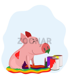 Pig in the paint
