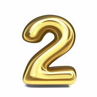 Golden font Number 2 TWO 3D