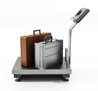 Industrial scale with suitcases isolated on white background. 3D illustration