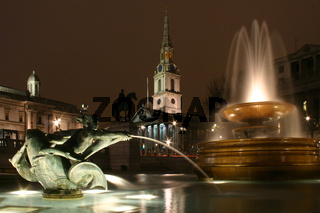 Saint Martin-in-the-Fields church and fountains in Trafalgar Square London at night