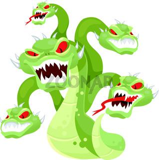 Hydra flat vector illustration. Mythological creature. Multi-head monster. Serpent, venomous snake with many heads. Greek mythology. Fantastical beast isolated cartoon character on white background