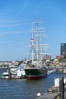 Hamburg, Sailing ship Rickmer-Richmers, Landing Stage, Norderelbe, Harbor, Germany