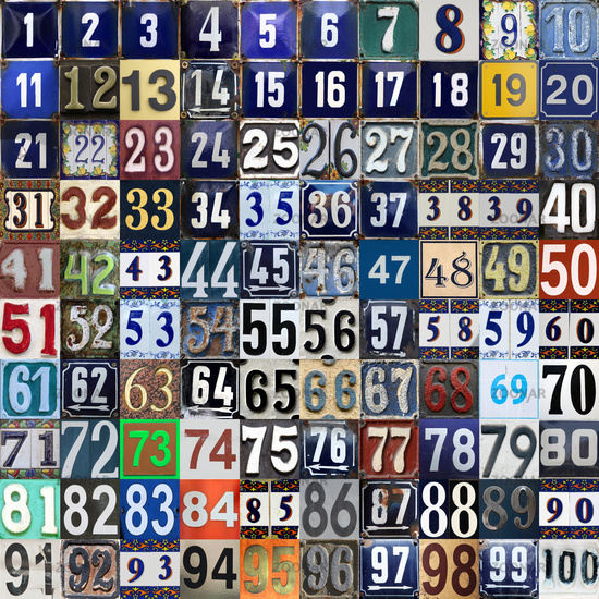Vintage grunge square metal plates with street address numbers arranged from 1 to 100