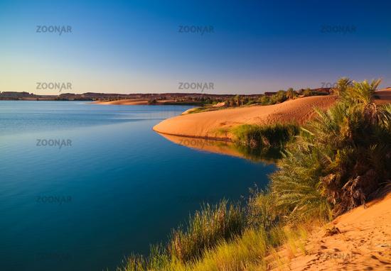 Sunset Panoramic view to Yoa lake group of Ounianga kebir lakes at the Ennedi, Chad