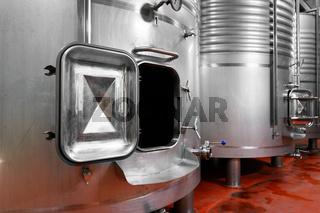 Steel barrels for fermentation of wine in winemaker factory