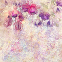 Pink and purple fuchsia flowers watercolor background