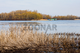 View of the Dnieper river in Kiev, Ukraine, at the end of winter