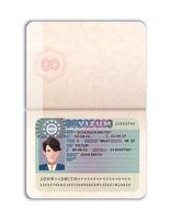 Open foreign passport with European Union visa realistic dummy on white