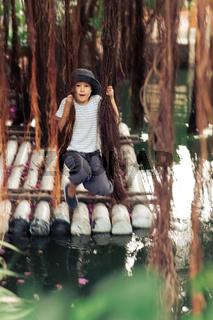 Boy having fun on the lake