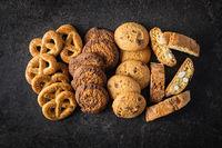 Various cookies. Sweet biscuits.