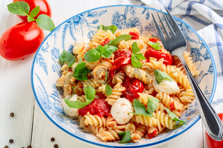 Pasta with baked caprese.