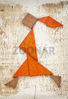 tangram walking girl figure