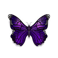 Beautiful deep purple detailed realistic magic butterfly on white