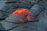 Closeup of magma in Fagradalsfjall volcanic eruption, Iceland