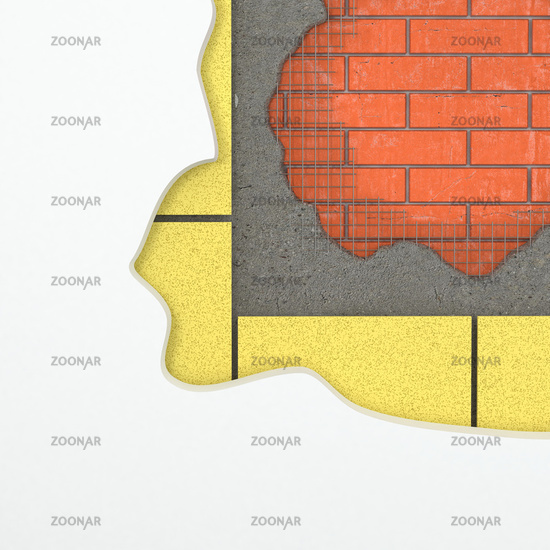 Construction background. Wall with layers of materials. 3d