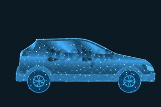 Car low poly wireframe with glowing dots and lines