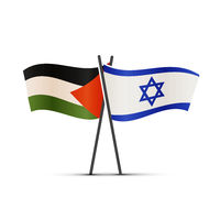 Israel and Palestine flags on poles on white