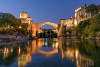 Mostar Bridge at sunset time, an Ottoman bridge in Mostar, Bosnia and Herzegovina