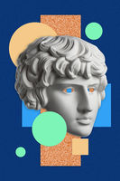 Collage with sculpture of human face in a pop art style. Modern creative concept image with ancient statue head. Zine culture. Contemporary art poster. Funky punk minimalism. Retro surreal design.