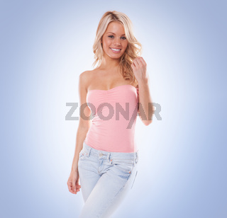Beautiful trendy young blond woman