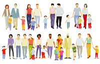 different families, parents and children, groups of people isolated on white