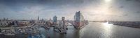 Panorama of the Hamburg skyline in the morning