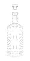 3D wire-frame model of bottle for alcoholic beverage