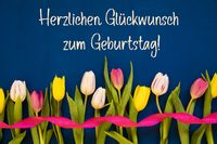 Tulip, Glueckwunsch Zum Geburtstag Means Happy Birthday, Ribbon, Blue Background