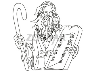 Prophet Moses with Staff Holding a Stone Table with Ten Commandments Continuous Line Drawing