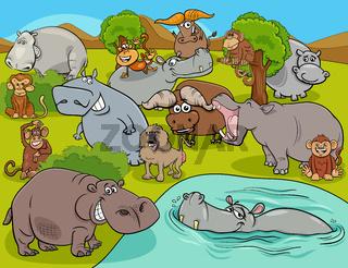 cartoon African wild animal comic characters group