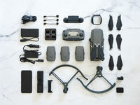 Folding drone, accessories, top view or flat lay