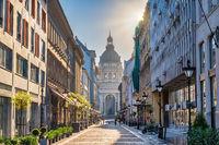 Budapest Hungary, city skyline at Zrinyi Street and St. Stephen's Basilica