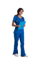 Female doctor with stethoscope and folder