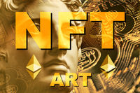NFT Non fungible token. Crypto art concept. Technology selling unique collectibles, games characters, blockchain assets and digital artwork. Future of art market. Cryptocurrencies and e-commerce.