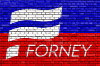 flag of Forney, Texas painted on brick wall