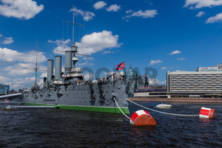 Saint-Petersburg, Russia - July 27, 2020: Aurora cruiser museum ship on Neva river