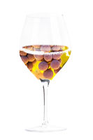 Blanc de noirs concept, white wine made from red wine grapes