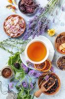 Herbal tea ingredients. Herbs, flowers, and fruit, shot from the top