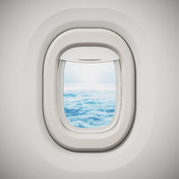 Airplane window looking through the clouds. 3D illustration