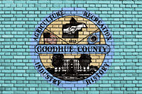 flag of Goodhue County, Minnesota painted on brick wall