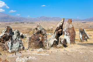 megalithic standing stone Zorats Karer in Armenia