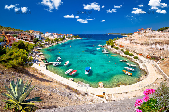Idyllic Adriatic turquoise bay near Primosten view