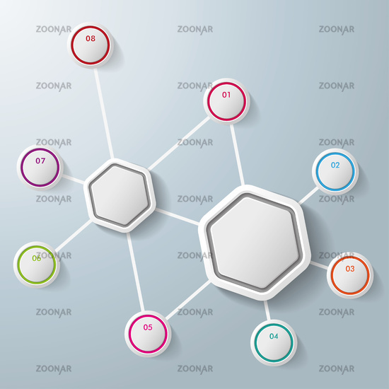 Infographic Two Hexagons Eight Options